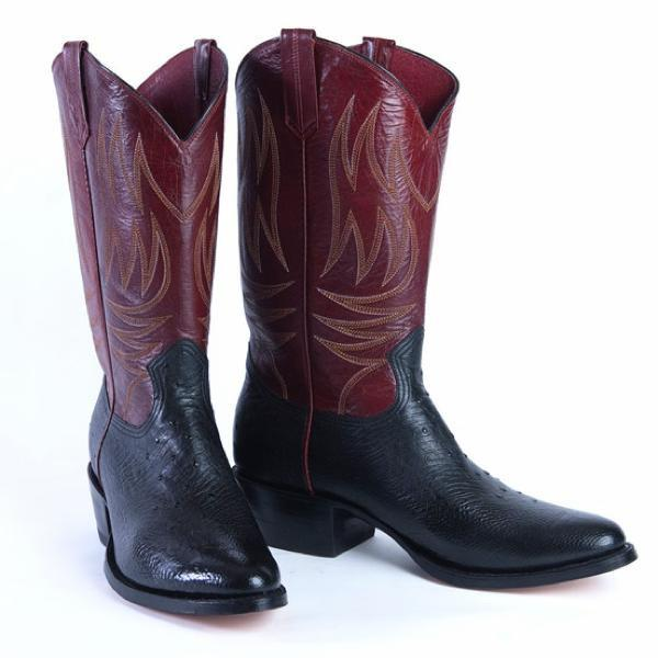 Cowboy Boot Makers ~ Black ostrich leather cowboy boot espinoza maker