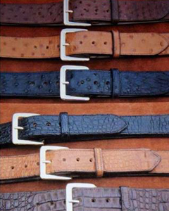 collection of custom hand-made leather belts