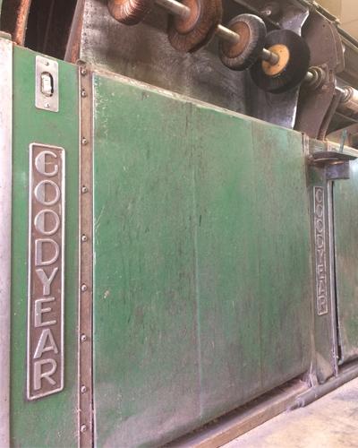 goodyear boot sander machine in david espinoza's shop