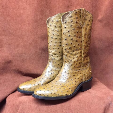 Antique saddle tan full quill ostrich cowboy boots