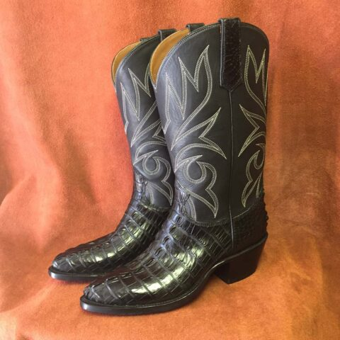 Black alligator tail cowboy boots