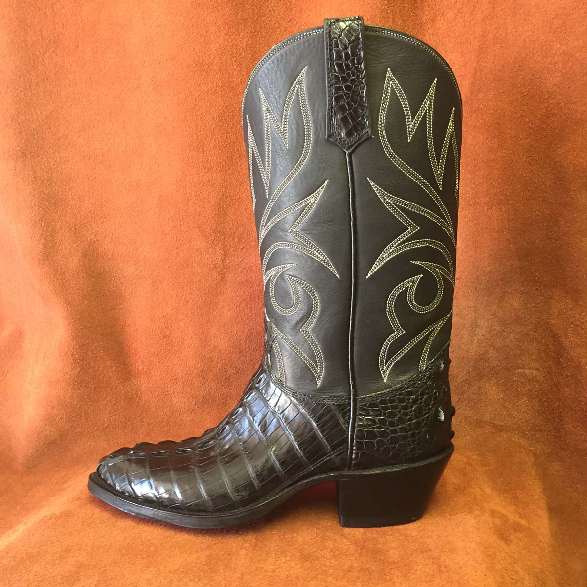 Cowboy Boot Makers ~ Black alligator tail cowboy boots espinoza boot maker