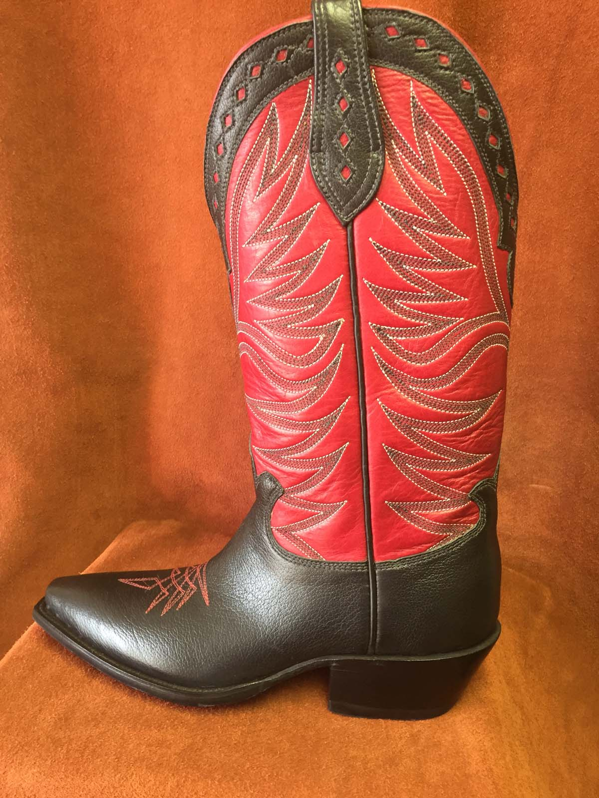 black buffalo with red shaft cowboy boots