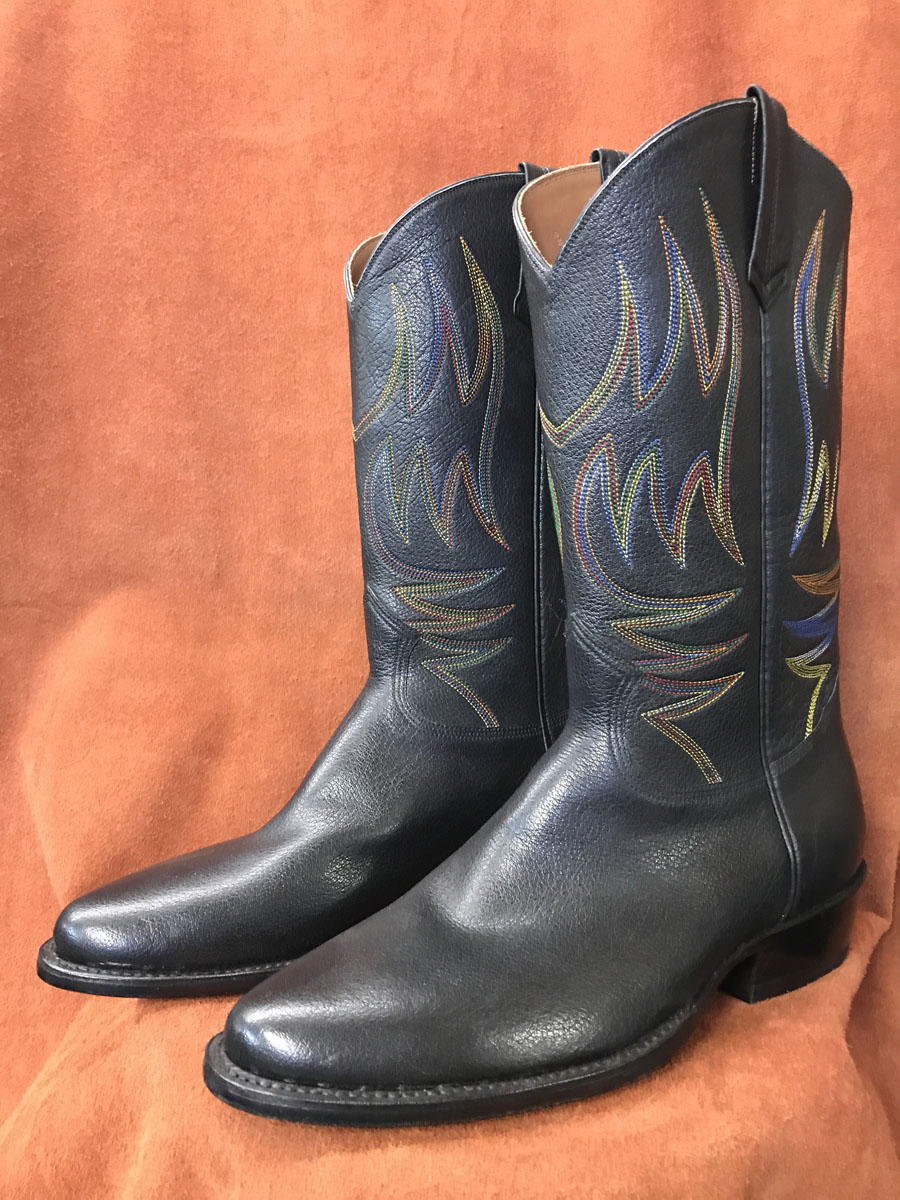 Cowboy Boot Makers ~ Black buffalo with rainbow stitching cowboy boots