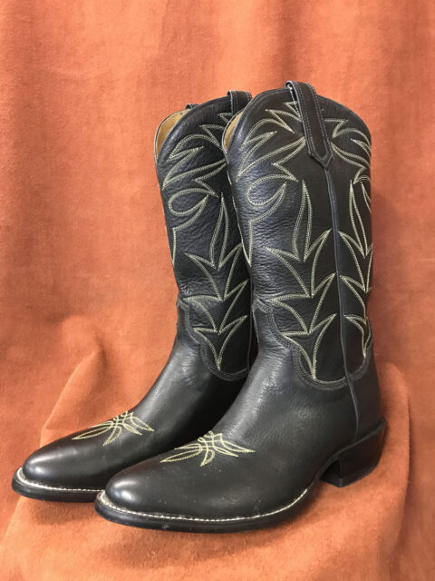 Black Calfskin With Green Stitching Cowboy Boots