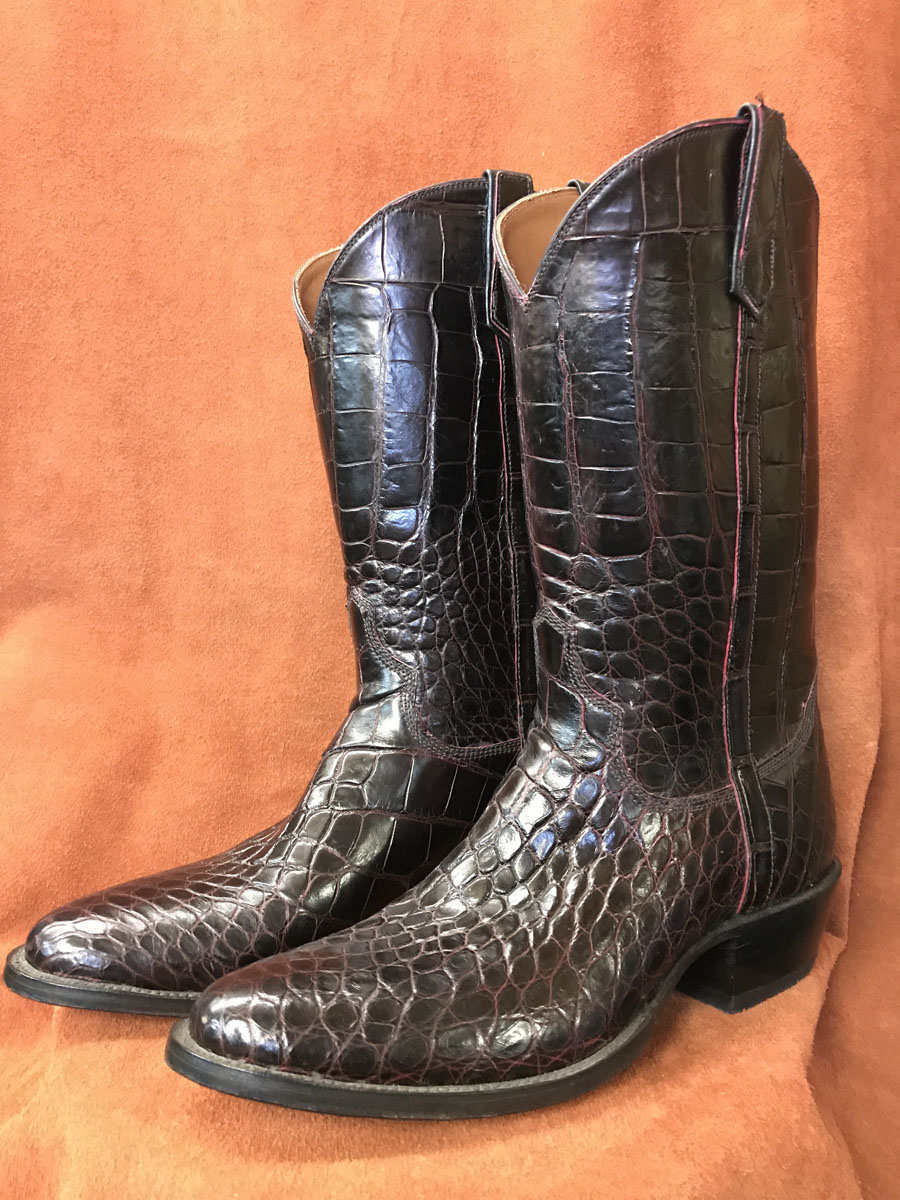 Black Cherry Alligator Cowboy Boots