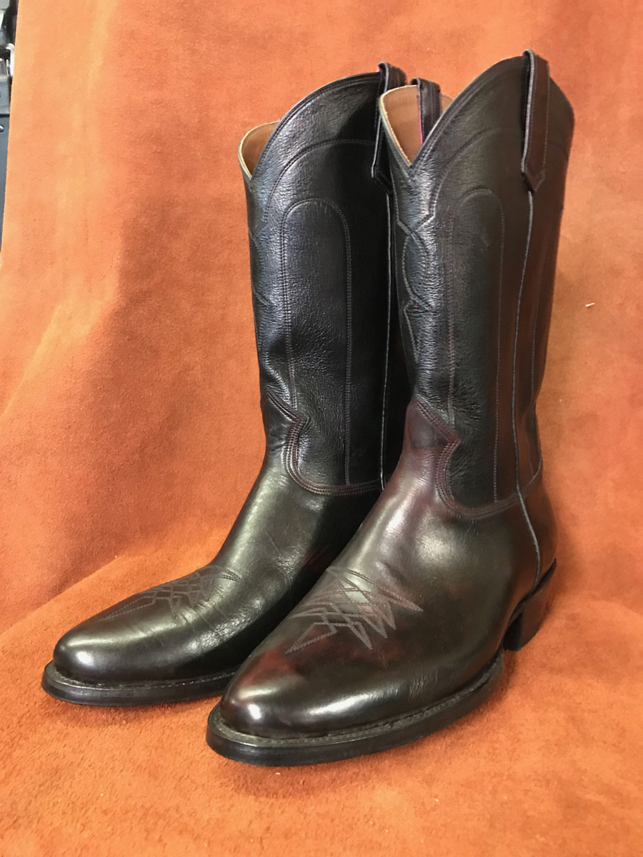 Cowboy Boot Makers ~ Black cherry leather cowboy boots espinoza boot maker
