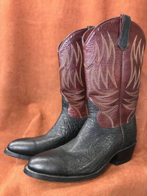 Black No Quill Ostrich Cowboy Boots