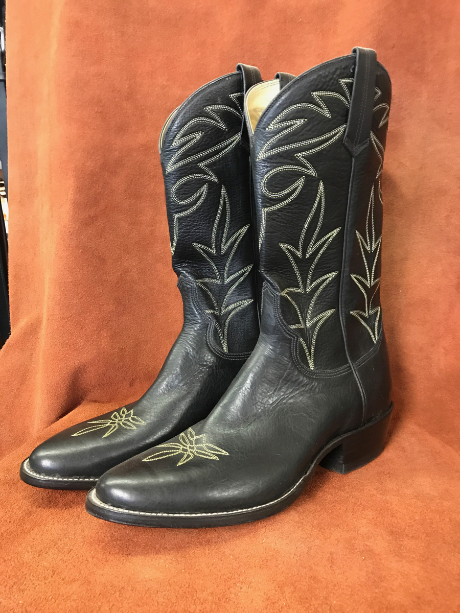 Cowboy Boot Makers ~ Black soft calf cowboy boots espinoza boot maker