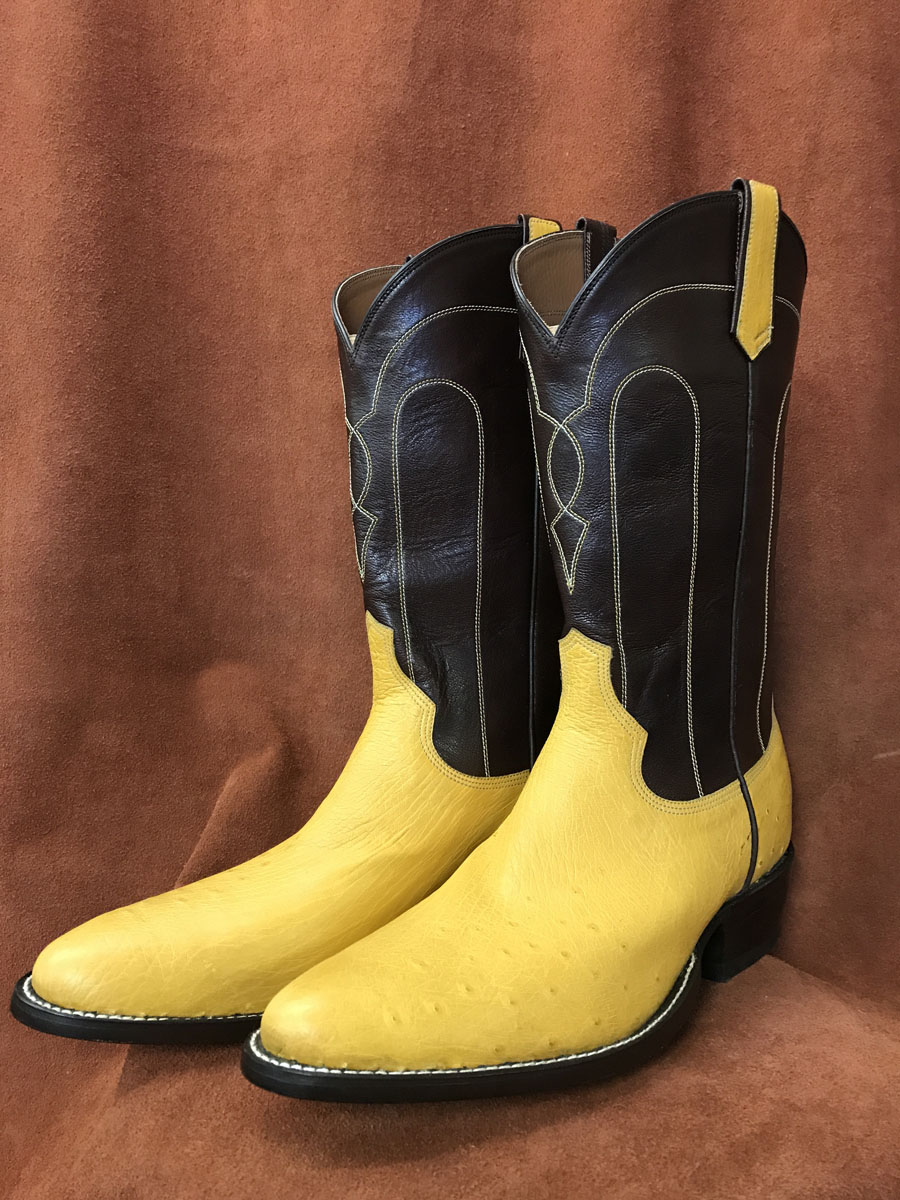Cowboy Boot Makers ~ Buttercup partial quill ostrich cowboy boots espinoza
