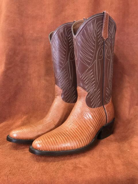 cognac lizard skin cowboy boots