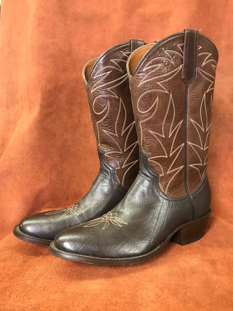 Cowboy Boot Makers ~ Dark brown buffalo cowboy boots espinoza boot maker