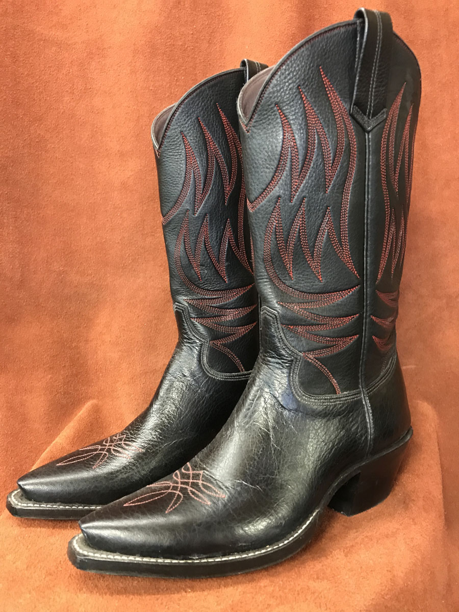 Distressed Black Calfskin Red Stitching Cowboy Boots