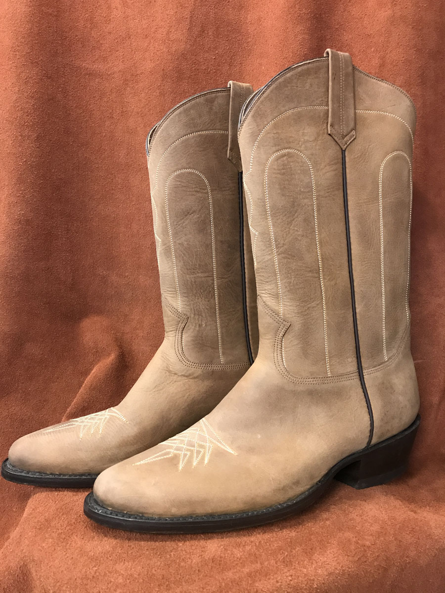 Distressed Brown Cowhide Cowboy Boots