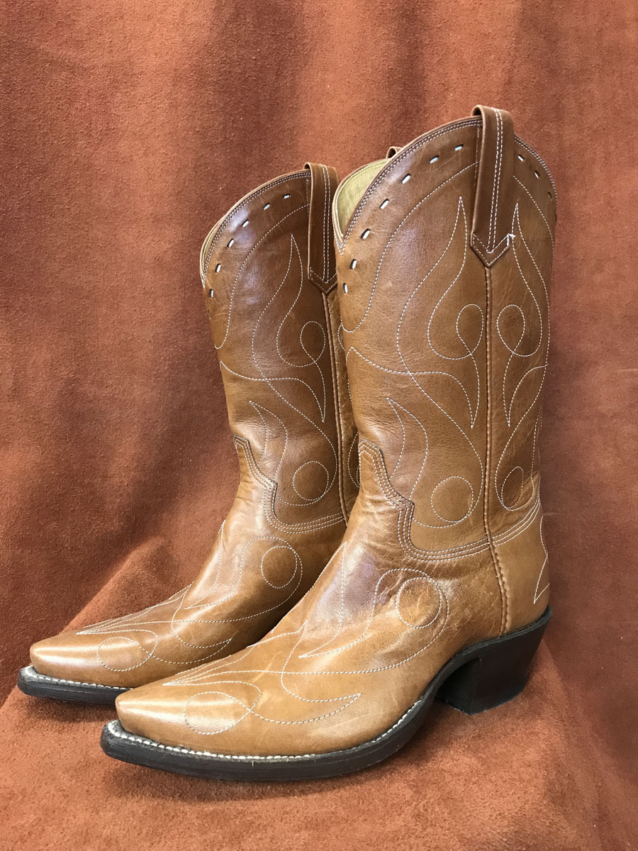 Distressed Brown Single Line Design Calfskin Cowboy Boots