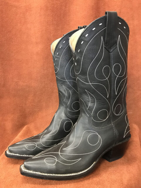 Matte Black Single Line Design Calfskin Cowboy Boots