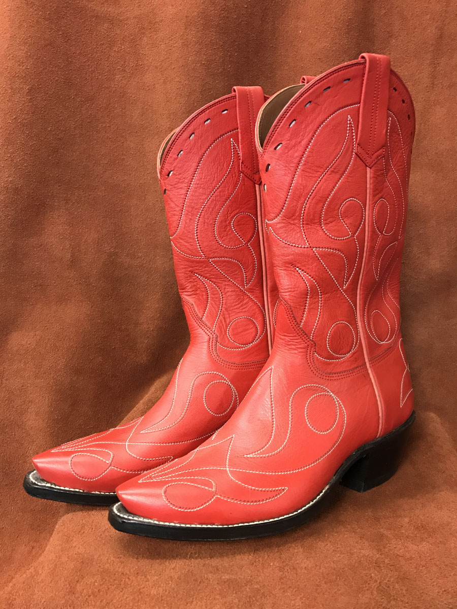 Red Single Line Design Calfskin Cowboy Boots