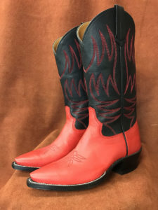 Red and Black Calfskin Cowboy Boots