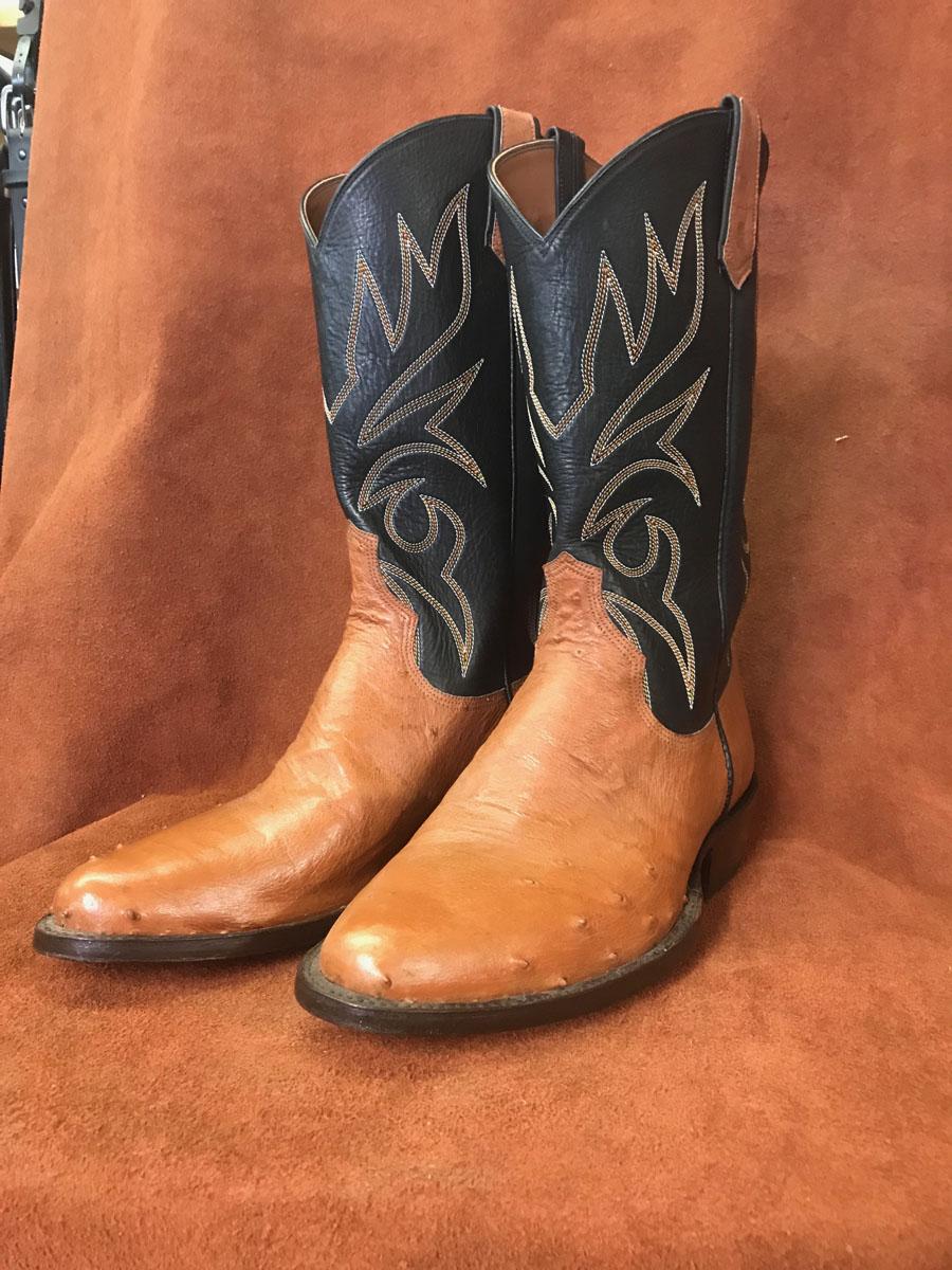 Tan Partial Quill Ostrich Cowboy Boots