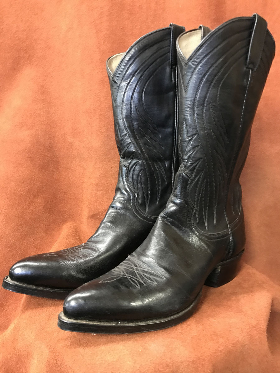 Cowboy Boot Makers ~ Black calf skin cowboy boots espinoza boot maker