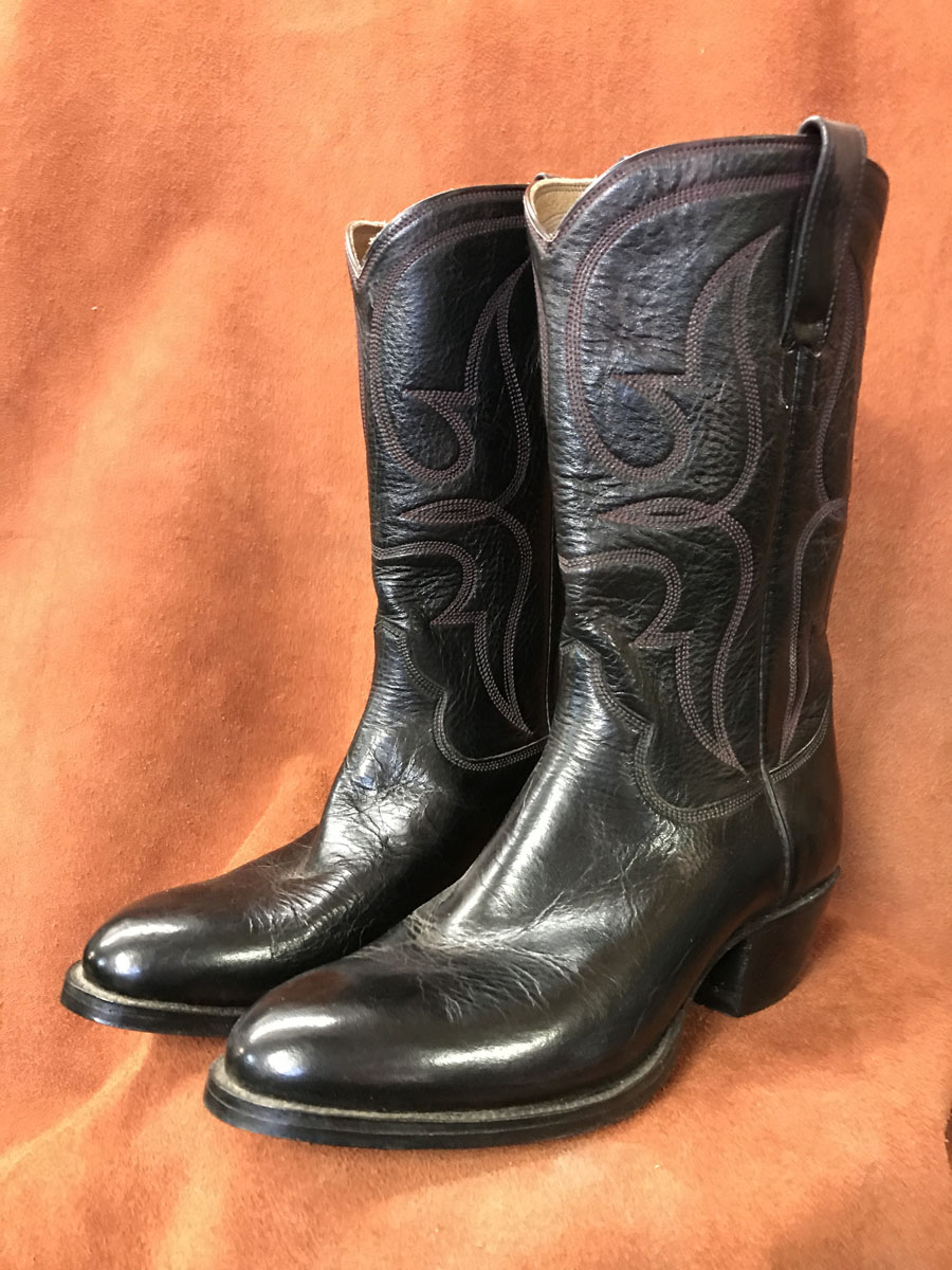 Cowboy Boot Makers ~ Black cherry calf skin cowboy boots espinoza boot maker