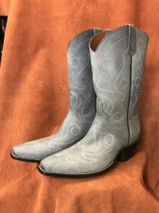 denim cowhide cowboy boots
