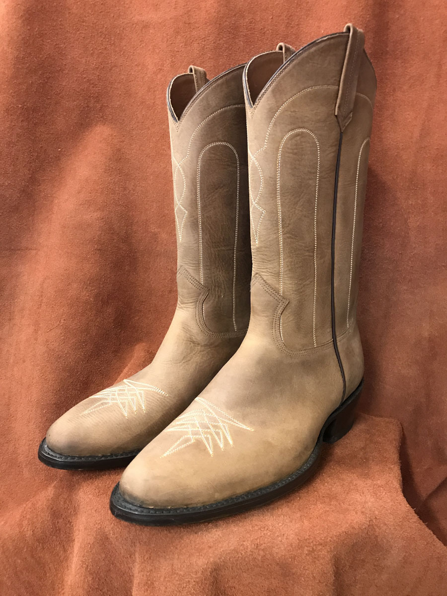 distressed cowhide cowboy boots