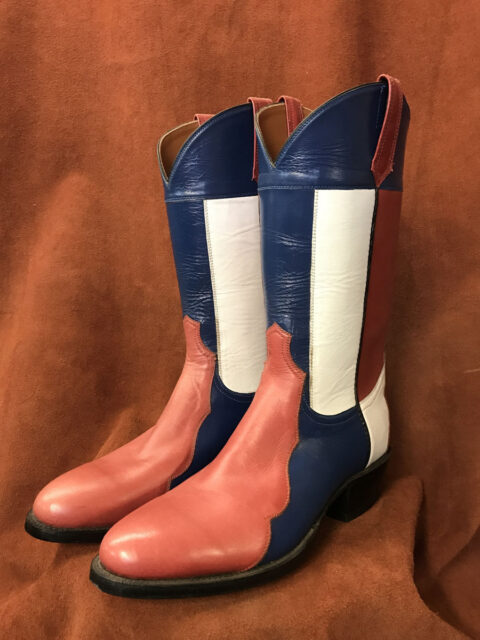 red white blue calf skin cowboy boots