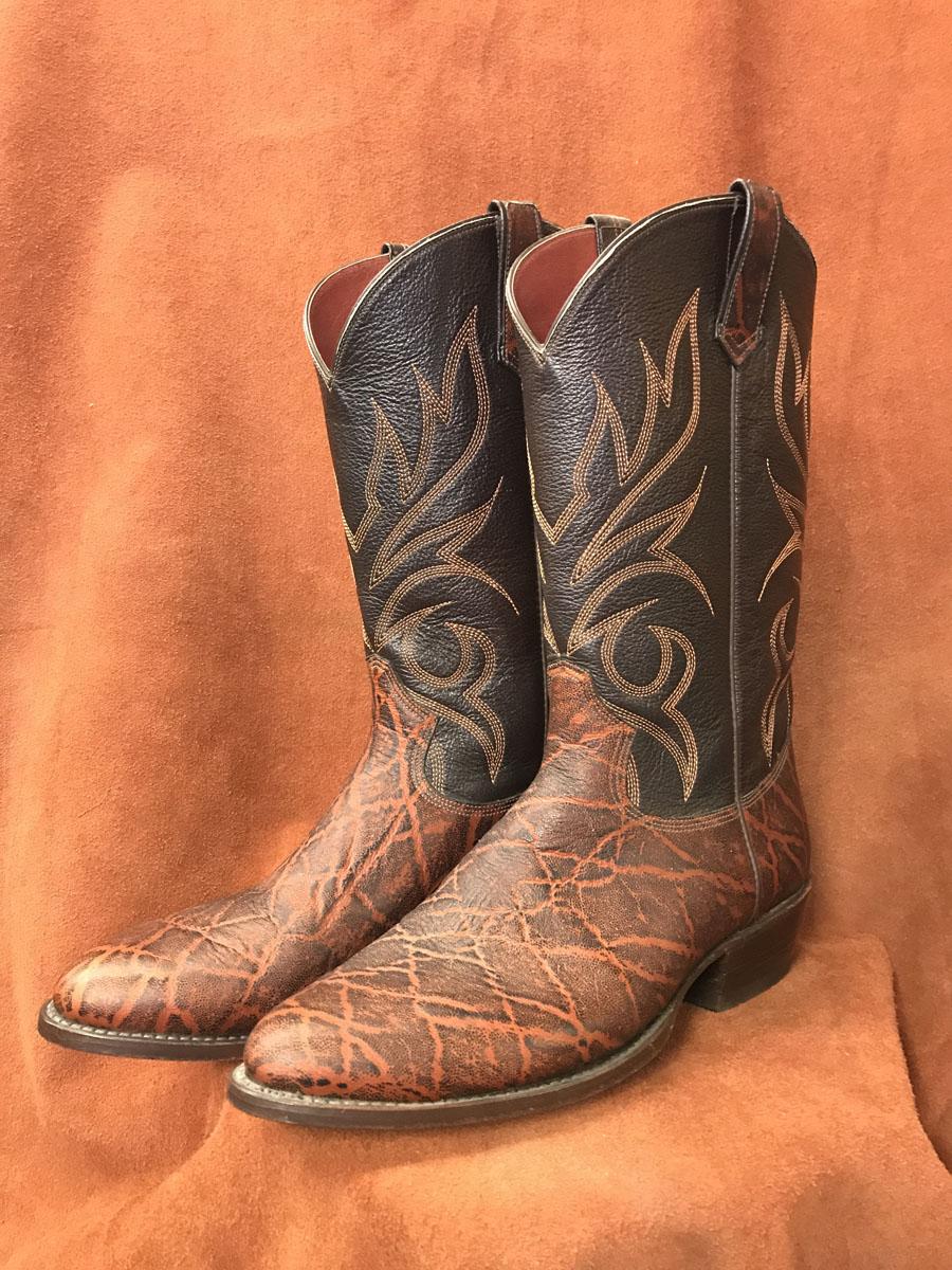 rust brown elephant print cowboy boots