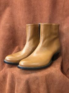 tan buffalo calf short zippered boot