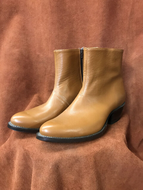 tan buffalo calf short zippered boot