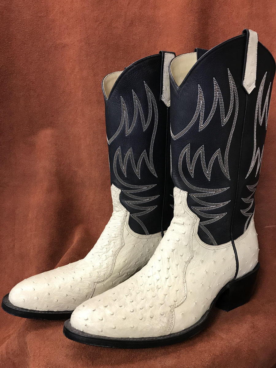Bone Colored Partial Quill Ostrich Cowboy Boots