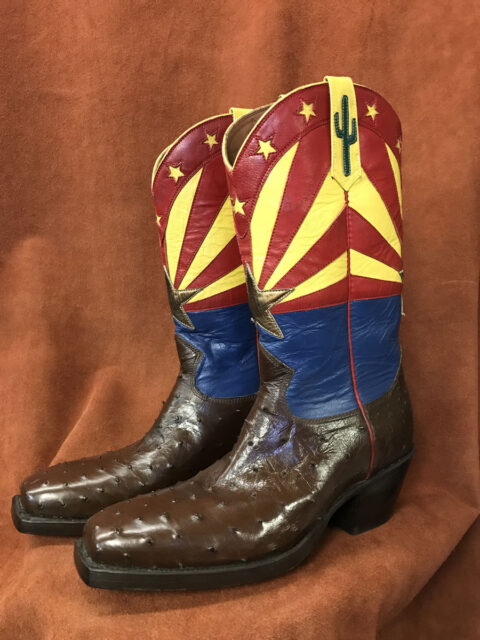 Dark Brown Full Quill Ostrich Arizona Flag Cowboy Boots