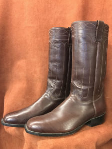 Dark Brown Old West Cathedral Stitching Cowboy Boots