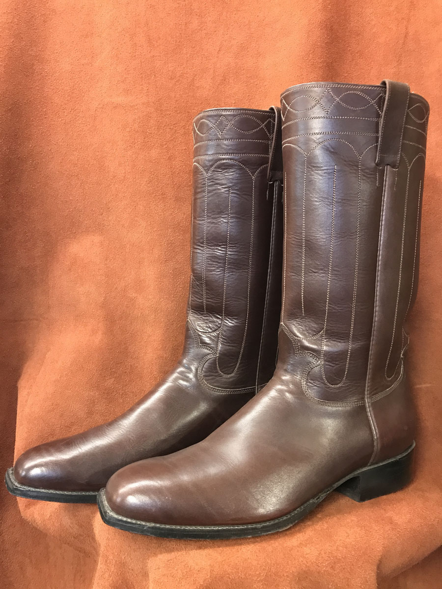 Cowboy Boot Makers ~ Dark brown old west cathedral stitching cowboy boots