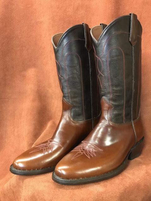 Dark Tan Calfskin Cowboy Boots