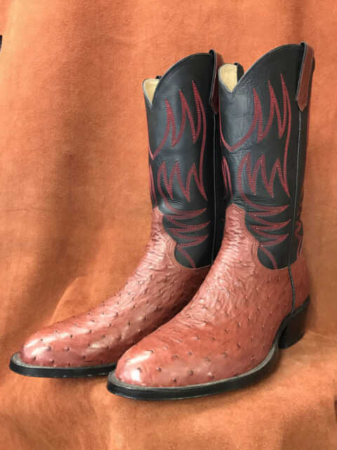 Light Burgundy Full Quill Ostrich Cowboy Boots