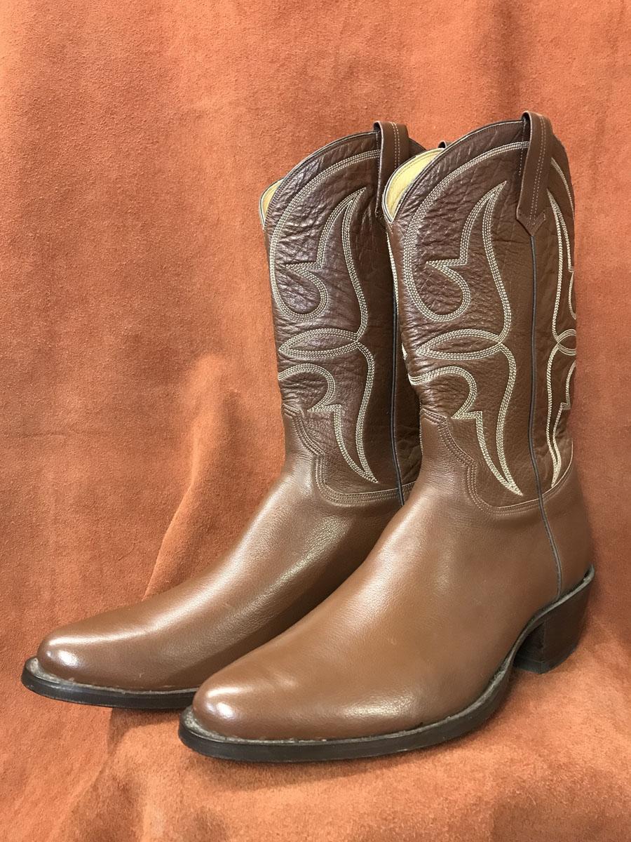 Medium Tan Soft Buffalo Calf Cowboy Boots