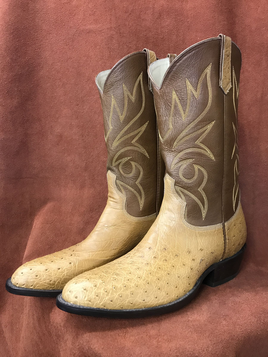Partial Quill Saddle Tan Ostrich Cowboy Boots