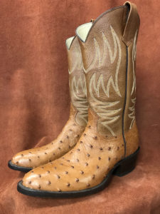 Saddle Leather Full Quill Ostrich Cowboy Boots