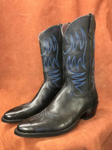 Soft Black Calfskin Cowboy Boots
