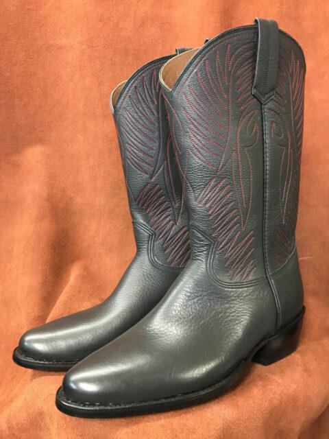 Soft Charcoal Calfskin Cowboy Boots