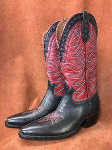Sonoran Style Black Soft Buffalo Cowboy Boots