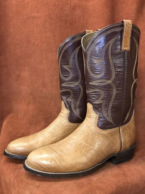 Tan Bullhide With Goatskin Shaft Cowboy Boots