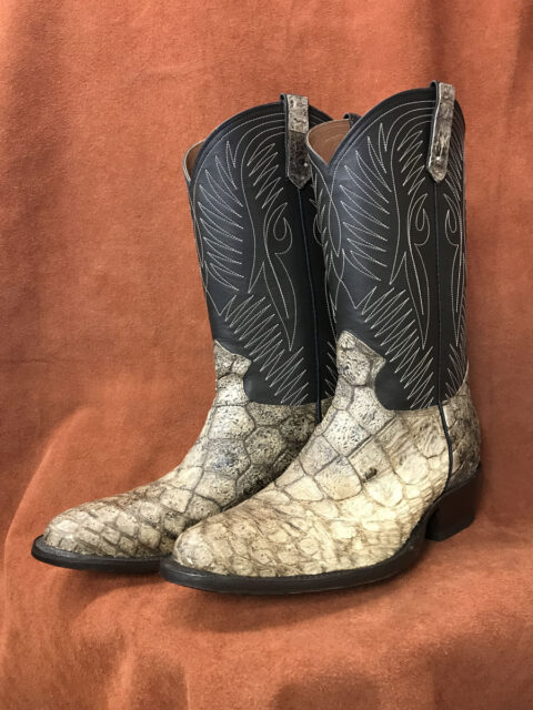 Wild Alligator With Single Line Stitch Calfskin Shaft Cowboy Boots