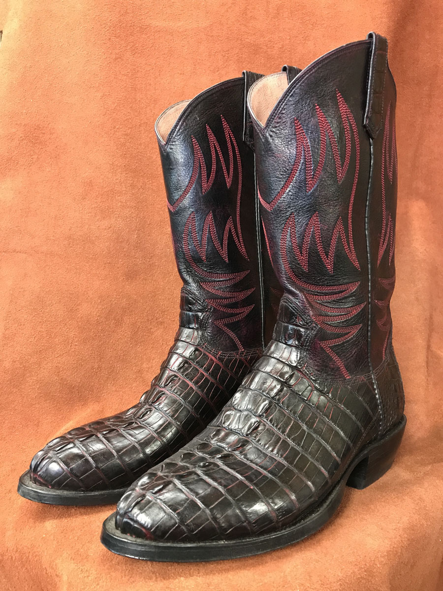 Black Cherry Alligator Tail Cowboy Boots