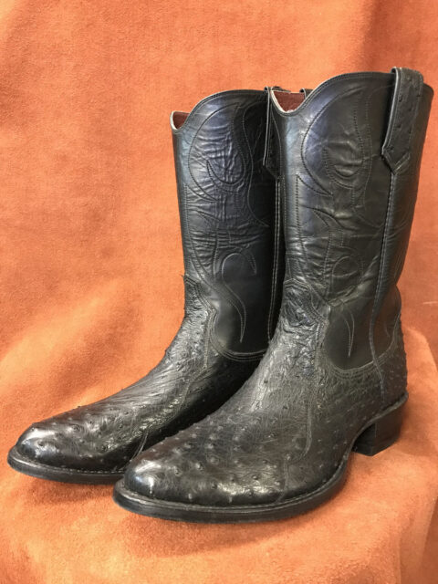 Black Small Quill Ostrich Cowboy Boots