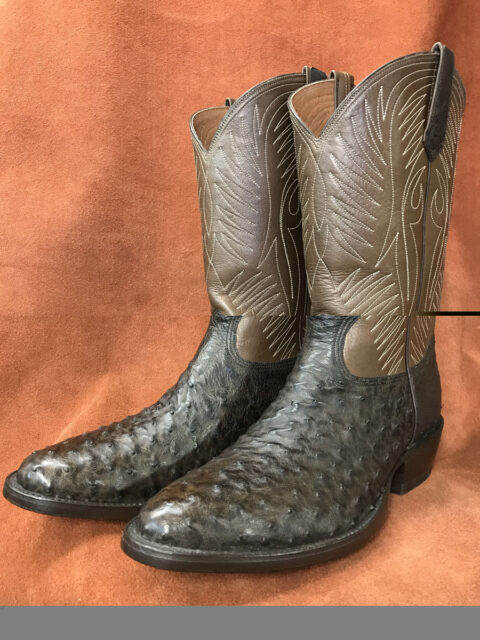 Dark Brown Full Quill Ostrich Cowboy Boots