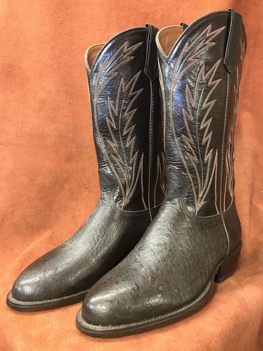 f259f1b6f04 Dark Brown No Quill Ostrich Cowboy Boots