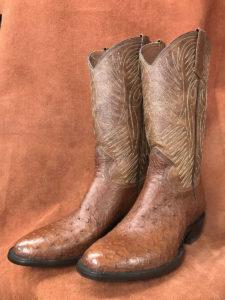 Dark Cognac Partial Quill Ostrich Cowboy Boots